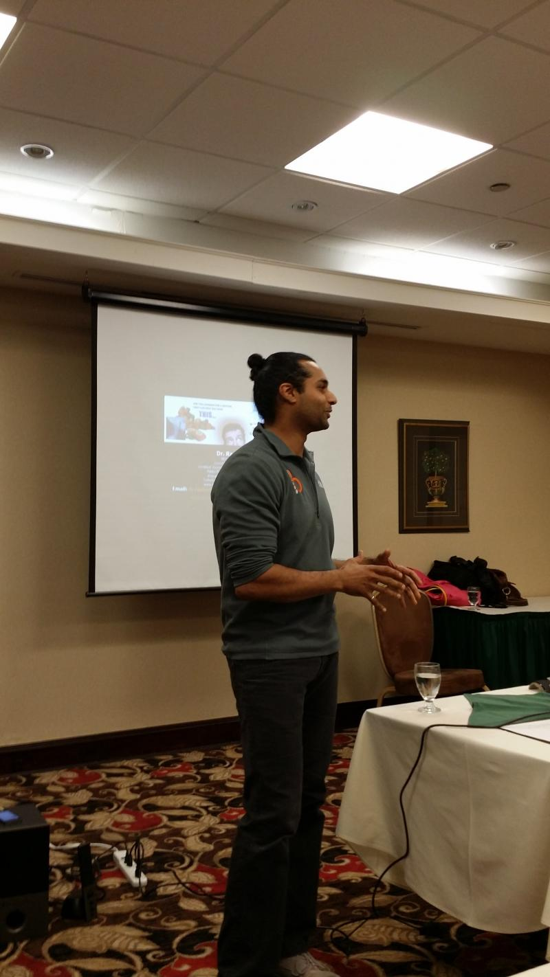 Dr. Adrian Raphael speaking to the Halton Peel Chiropractic Society in 2015
